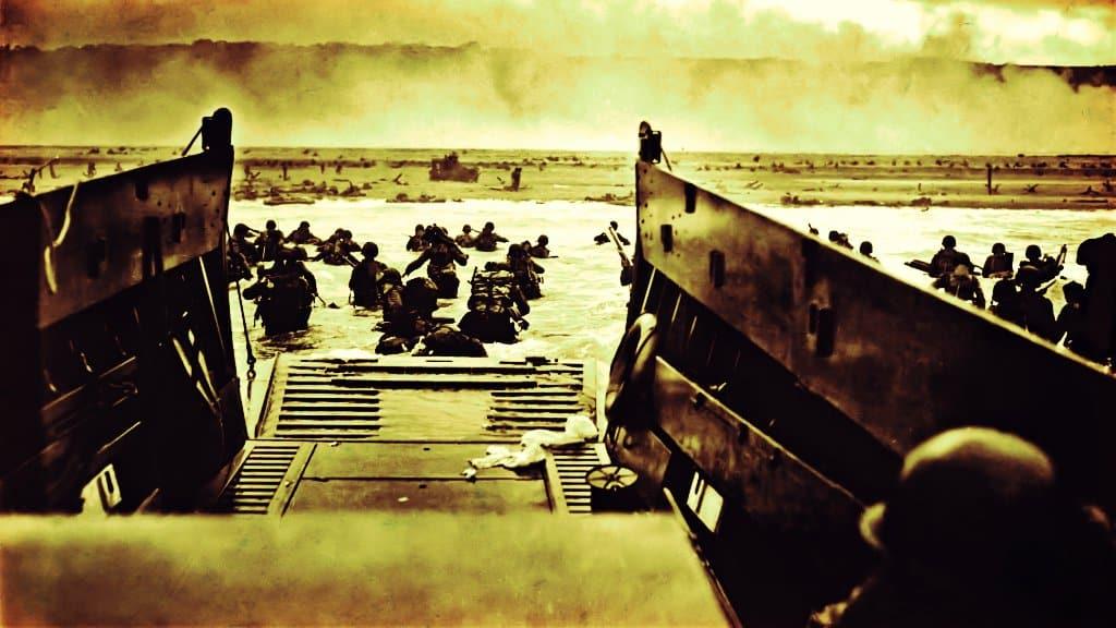 Playa Omaha durante el día D en 1944