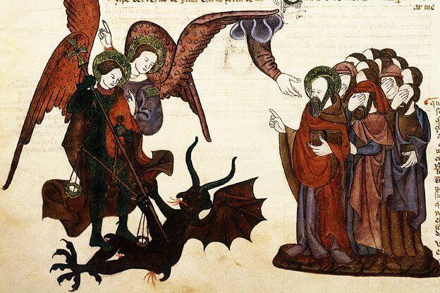 En la Biblia de Alba, que se acabó de traducir del hebreo al castellano medieval en 1430, el arcángel Miguel lucha contra Satanás.