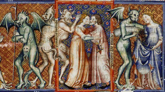 """Las mujeres, débiles de espíritu... Detalle de la obra """"Acciones de diablos"""", publicada en Cataluña a finales del siglo XIV"""