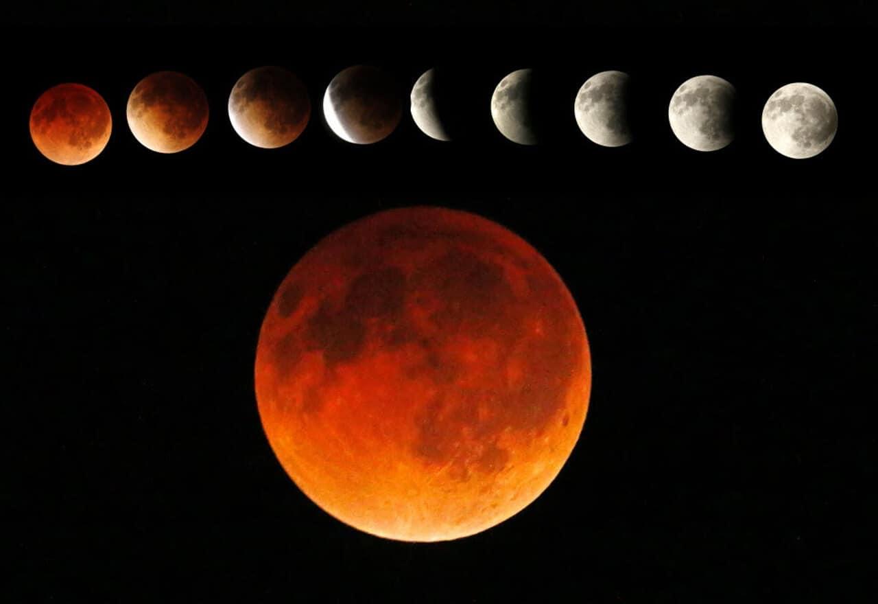Un eclipse lunar, una superluna, una luna azul y una luna de sangre