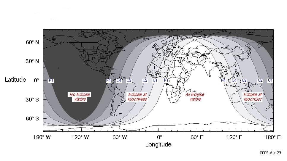 Las zonas blancas indican las mejores ubicaciones para observar el eclipse lunar. / Fred Espenak / NASA GSFC