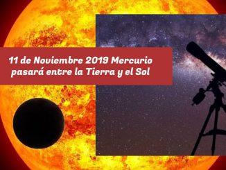 11 de Noviembre 2019 Mercurio pasará entre la Tierra y el Sol