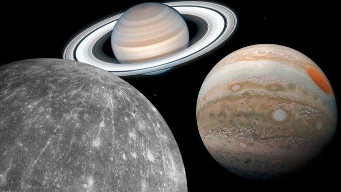Mercurio, Júpiter y Saturno